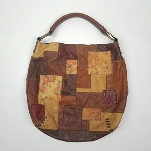 Lucky Brand Italian Leather Quilted Patchwork Hobo